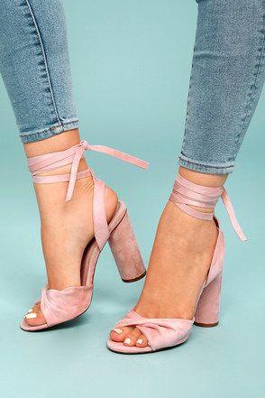 Rumer Blush Suede Lace-Up Heels 1