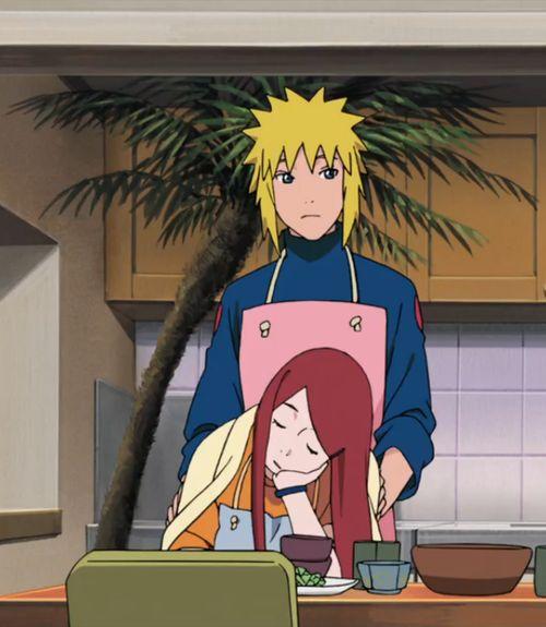 "<3 Minato & Kushina - from movie: ""Road to Ninja: Naruto the Movie"" ...I love that he has the pink apron."