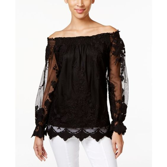 Marled Floral-Mesh Off-The-Shoulder Peasant Top ($48) ❤ liked on Polyvore featuring tops, blouses, black, peasant top, floral print blouse, flower print blouse, floral print top and off the shoulder peasant top