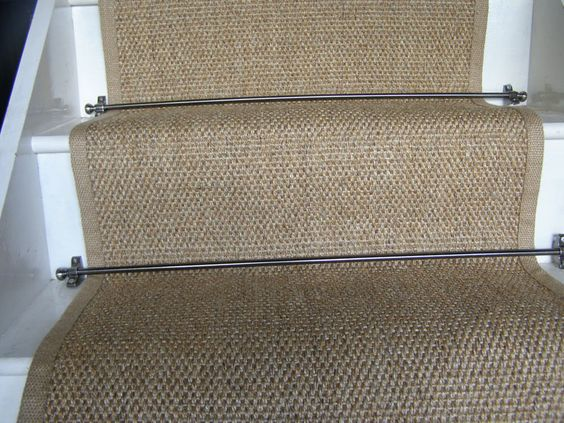 natural sisal flatweave stair runner with Jute border