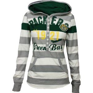 Green Bay Packers YAC Women's Striped Hoodie. I would maybe break down and wear this. Maybe.