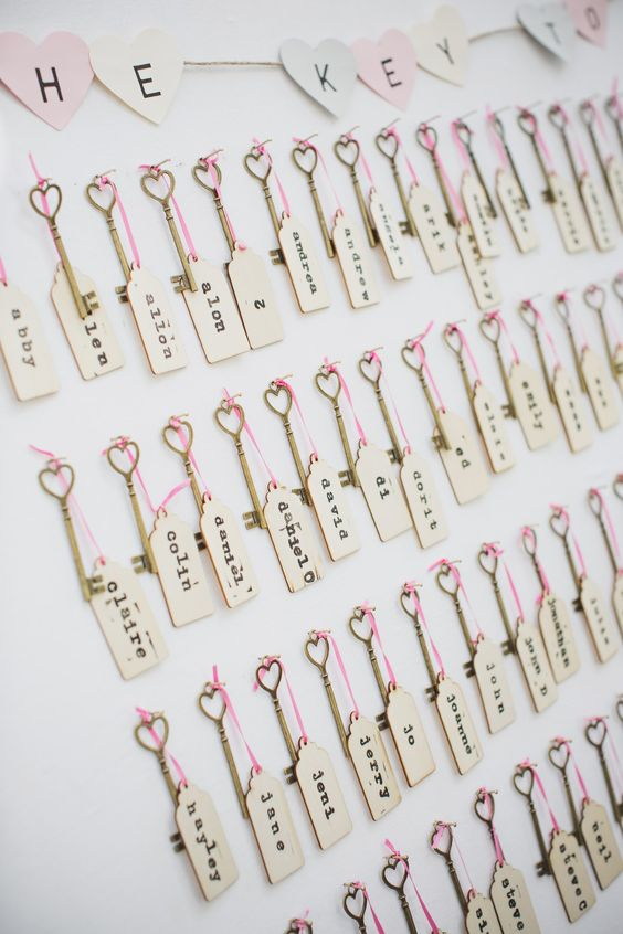 """tietheknotonthehighstreet feature - """"We made our own plan using vintage-style keys and luggage tags. For every guest, we labelled one of the keys with a gift tag that had their name and table number on. We hung all the keys up on a board with the words 'the key to your seat' spelled out in paper bunting and the guests had to find their key to work out which table they were on."""""""