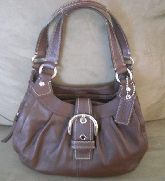 AUTHENTIC Brown SOHO LEATHER LYN HOBO HANDBAG