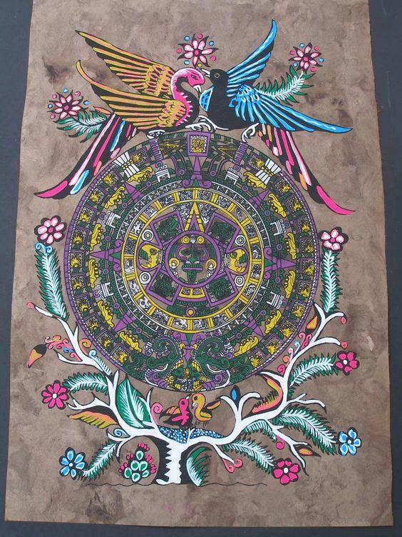 Beautiful aztec calendar and arts crafts on pinterest for Folk art craft paint