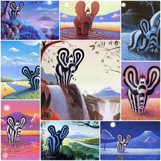 Titou l'éléphant vous souhaite un super mois de novembre ou de juin, on sait plus trop   Tableaux du monde de Titou réalisés au pastel sec par Vincent Dufour. A retrouver aussi sur http://www.vincentdufour.com/fr/16-le-monde-de-titou-tableau-chambre-enfant-tableau-chambre-bebe