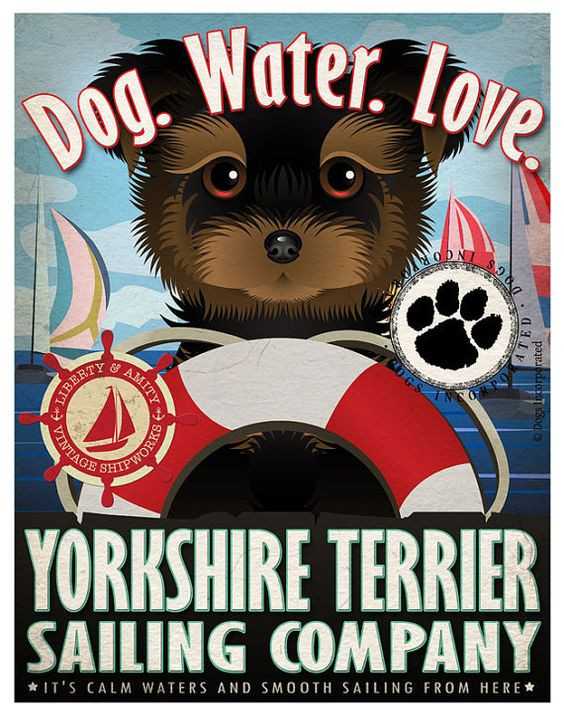 Yorkshire+Terrier+Sailing+Company+Original+Art+by+DogsIncorporated,+