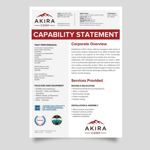 Create A Capability Statement Other Busines Or Advertising Contest Design Ad Logo Inspiration Personal Capacity