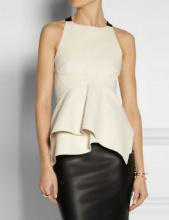 DONNA KARAN Jersey-paneled stretch cotton-blend top