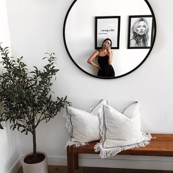 Black Round Wall Mirror 24 Inch Large Round Mirror Rustic Accent Mirror For Bathroom Entry Dining Room Li Entryway Decor Small Home Decor Boho Entryway