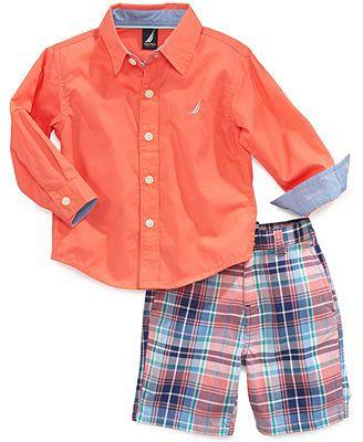 Nautica Baby Boys' 2-Piece Woven Shirt & Shorts Set