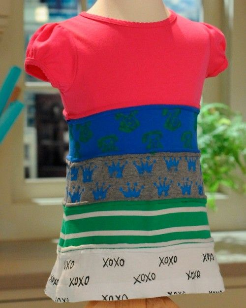DIY Girl's T-Shirt Dress from Cheri Heaton via marthastewart: Made from upcycled T-shirts! #DIY #Girls_Dress #T_Shirt #Upcycle #marthastewart #Cheri_Heaton