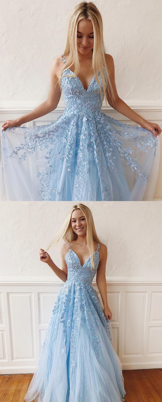 A Line V Neck Open Back Light Blue Lace Long Prom Dresses, Elegant