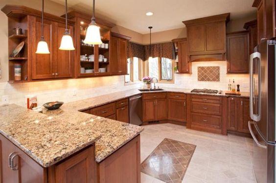 Cambria berkley quartz countertops with cherry cabinets for Kitchen cabinets berkeley