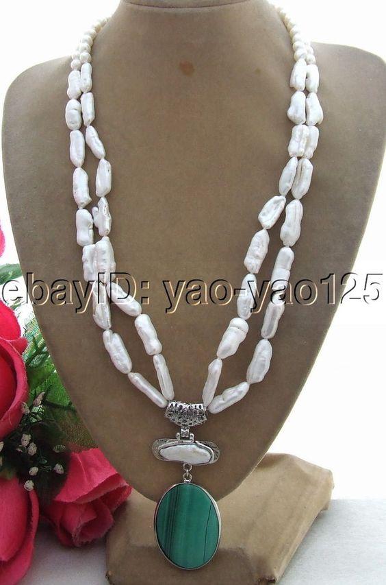 R042206  Natural Biwa Pearl&Malachite Pendant Necklace #Handmade #StrandString