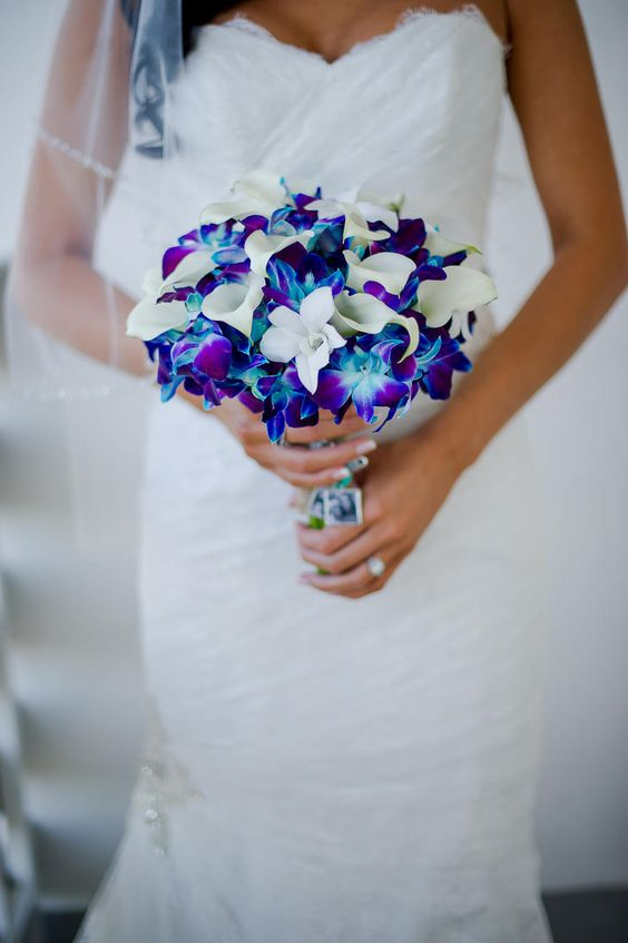 Bright Blue and Purple Orchid Bouquet   PALM BEACH PHOTOGRAPHY   http://knot.ly/6495BQzNR