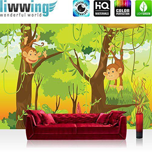 vlies fototapete premium 400x280cm jungle animals monkeys by liwwing r vliestapete tapeten. Black Bedroom Furniture Sets. Home Design Ideas