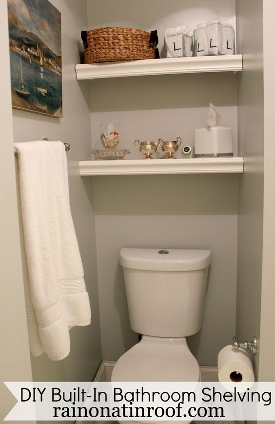 Built in bathroom shelving diy for 25 or less toilets for Bathroom built in shelving ideas