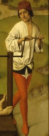 Detail on man from St Erasmus Triptych. Painted by Dietric Bout, 1464. Flemish: