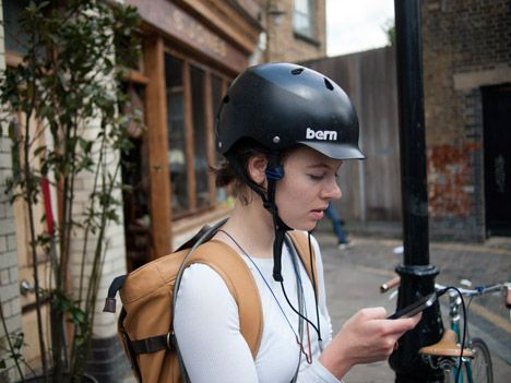 Bone-conduction headphones allow cyclists to hear traffic noise while listening to music.