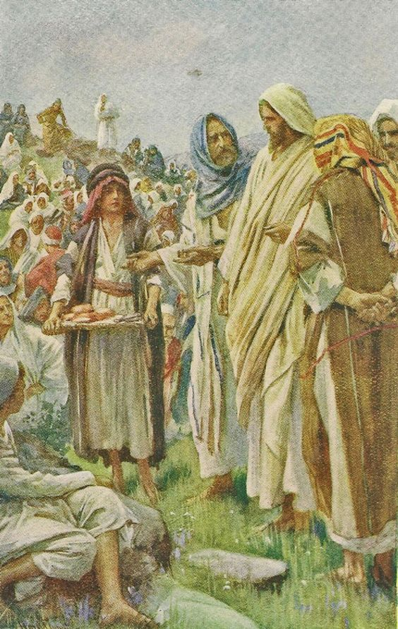 Feeding the Five Thousand by Harold Copping {c.1920's} ~ Jesus: