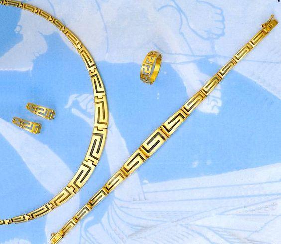 14K gold greek key jewelry set