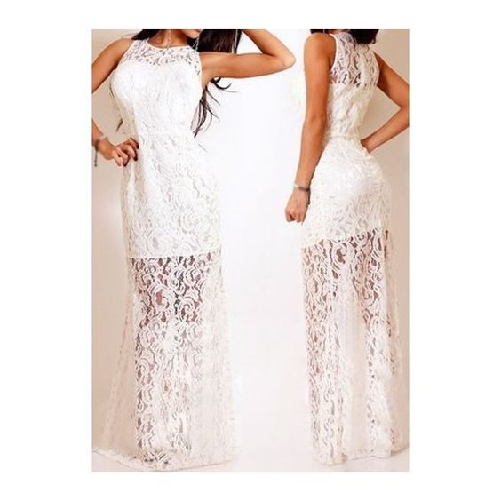Rotita White Sleeveless Semi Sheer Lace Dress ($23) ❤ liked on Polyvore featuring dresses, white, sleeveless maxi dress, white dress, sleeve dress, lace dress y lace sleeve dress