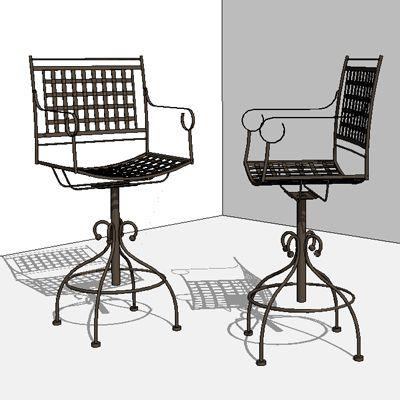 Wrought iron swivel barstool revit furniture pinterest for Outdoor furniture revit