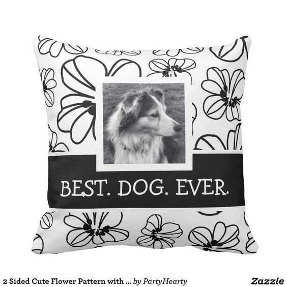2 Sided Cute Flower Pattern with Instagram Photos Throw Pillow: