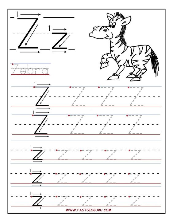 Printable P E Worksheets : Printable letter z tracing worksheets for preschool kids