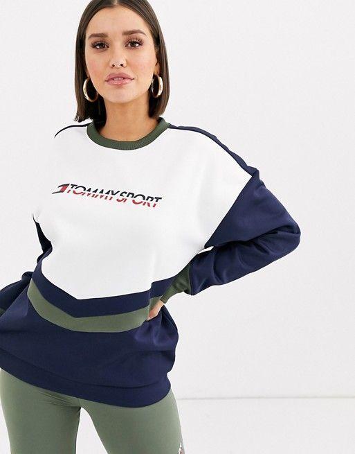 Shop Navy Tommy Hilfiger Logo Short Sleeve Hoodie for Women | NISNASS