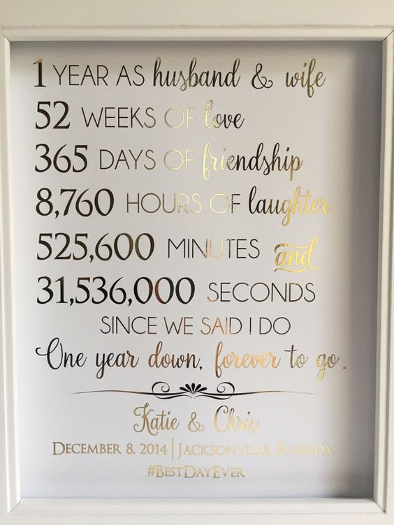 Good 1 Year Wedding Anniversary Gifts For Him : Gold Foil Print First 1st Anniversary Gift For by LaJoliBijou