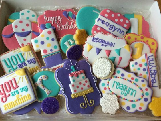 Bright Girly Birthday Cookies | Cookie Connection