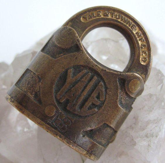 Vintage YALE Brass Lock Industrial PADLOCK by VintageFunkandFlair