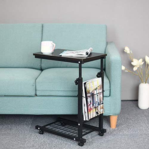 22 30 Inch Sofa Side Table With Wheels End Slide Under Storage Mobile Adjustable Laptop Cof In 2020 Desk Living Room Small - Slide Under Sofa Laptop Table