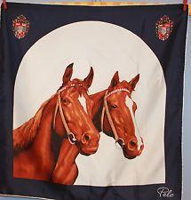 VINTAGE Tuch Sammlerstück collectable foulard Seide Schal shawl PFERDE Seide