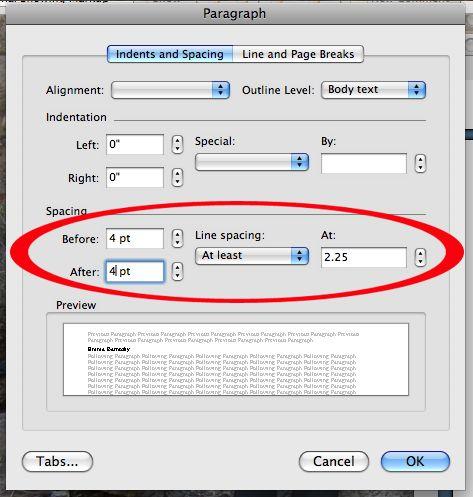 dissertation line spacing