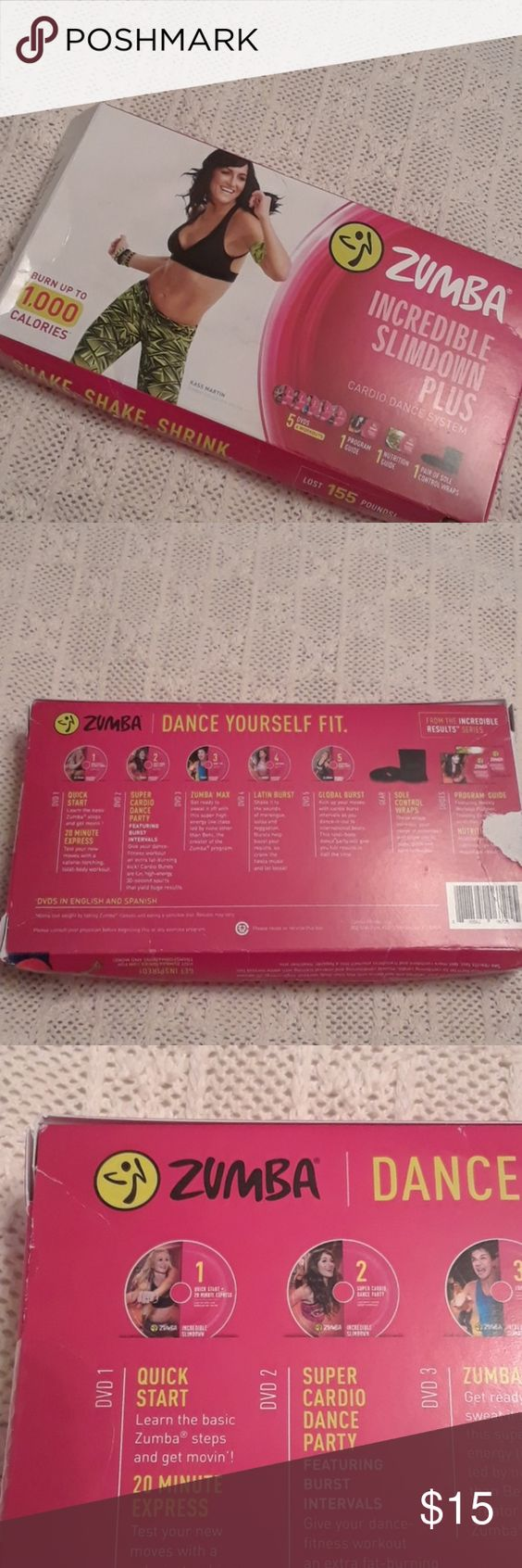 ZUMBA FITNESS DVDs Four dvd in the set. Includes Incredible Slim down Nutrition Guide. Used the first DVD only once. Other
