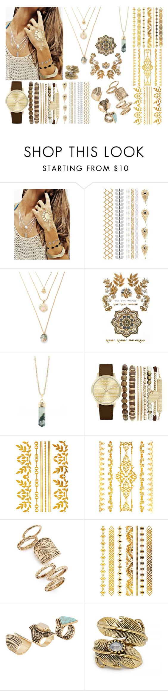 """Temporary Tattoos"" by stavrolga ❤ liked on Polyvore featuring beauty, Flash Tattoos, Rock 'N Rose, Jessica Carlyle, Topshop, ALDO, Natalie B, jewellery, polyvoreeditorial and polyvorecontest"