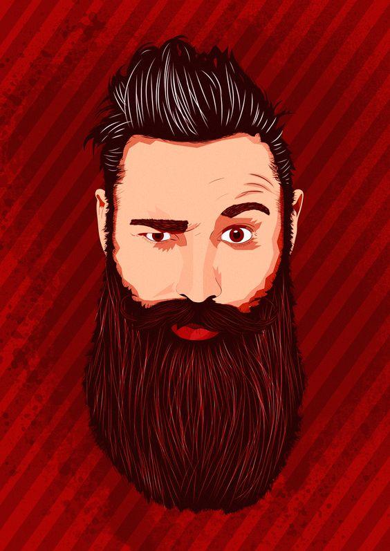 Bearded Hipster Illustration. Vector portrait.