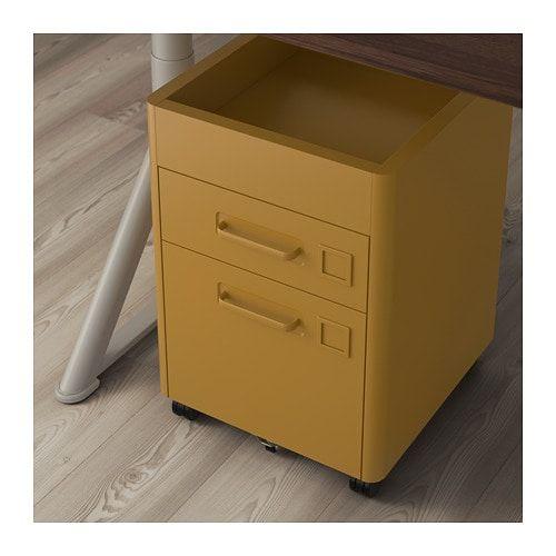 Ikea Cassettiera Con Rotelle.Idasen Cassettiera Con Rotelle Ocra Bruna 42x61 Cm Drawer Unit