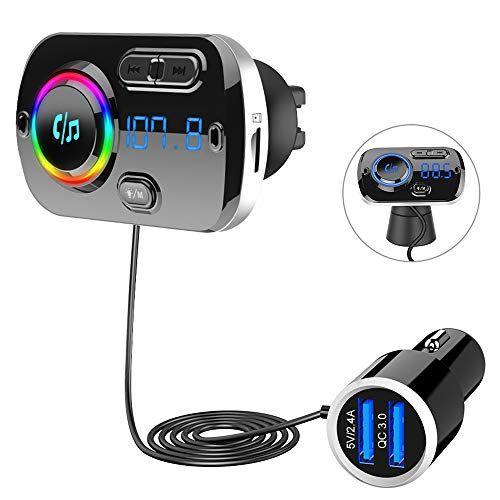Auto Bluetooth 5.0 FM Transmitter QC3.0 KFZ USB Ladegerät Adapter 7 Farbe LED TF