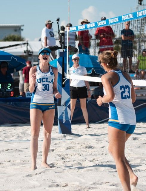 Senior Izzy Carey Left Blocked A Florida State Kill To Clinch The Dual Win For The Bruins Carey And Freshma Ncaa Championship Beach Volleyball Florida State