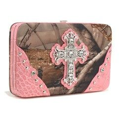 "Camo Cross Wallet~You can never have too much camo.  Show off your style with this extra wide wallet.  - Made of high quality fabric and leather-like trim - Push button closure - Multi credit card slots - Matching checkbook cover included - Transparent ID window - Multiple flat currency compartments - Back pocket with snap button closure - Approx. Dimension: 7.5""W x 4.5""H x 1.5""D  Check out this camo wallet at www.camoandcounting.com"