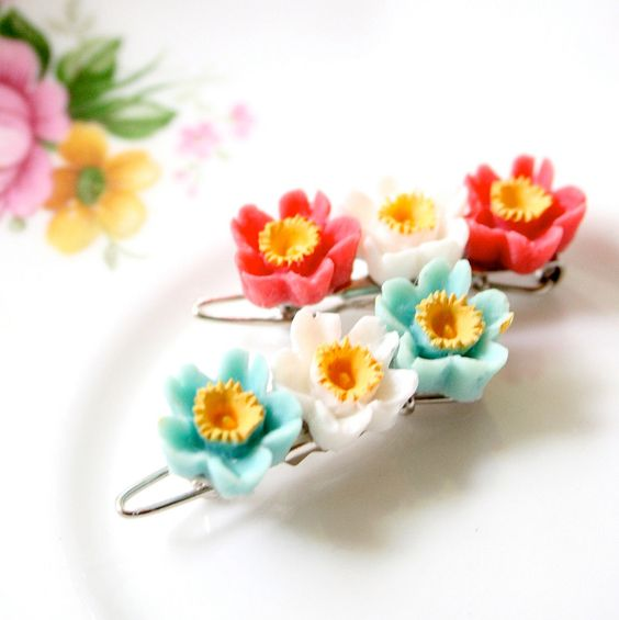 Tiny Flower Barrettes
