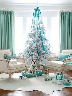 Blue Christmas Tree and Decor