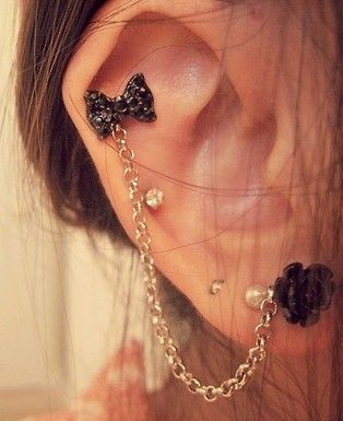 Rose & bow cartilage piercing earrings #cartilage #earrings www.loveitsomuch.com