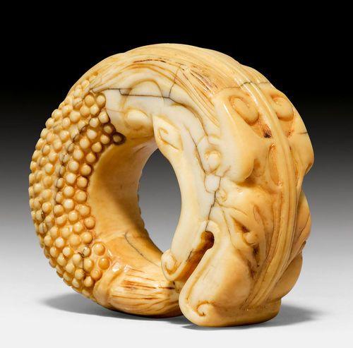 A Carved Bone Dragon Fish China Ming Qing Period Bone Carving Dragon Fish Carving