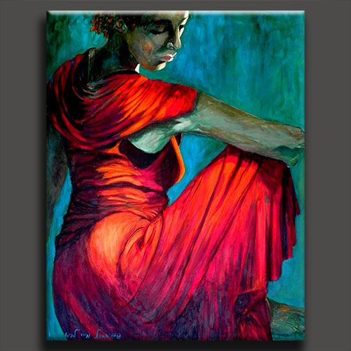 Woman In Red Dress Oil Painting | www.imgkid.com - The ...