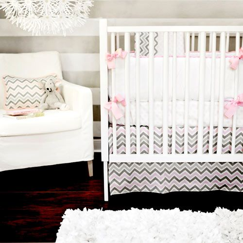 Addison Baby Bedding in Pink and Grey from PoshTots