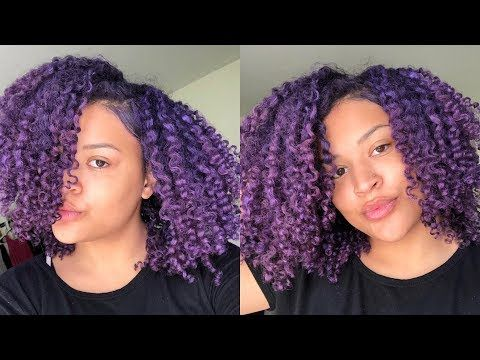 How To Color Dye Natural Hair Purple No Bleach Or Permanent Coloring Youtube Natural Hair Styles Purple Natural Hair Dyed Natural Hair